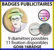Badges publicitaires en 9 diametres et 11 systemes de fixation - GO48-16BADGE