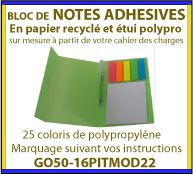 Composez votre bloc Notes adhesives ou post-it dans un étui en polypropylene GO50-16PITMOD22
