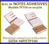 Notes adhesives ou post-it dans un étui en carton recycle GO50-16PITTP100