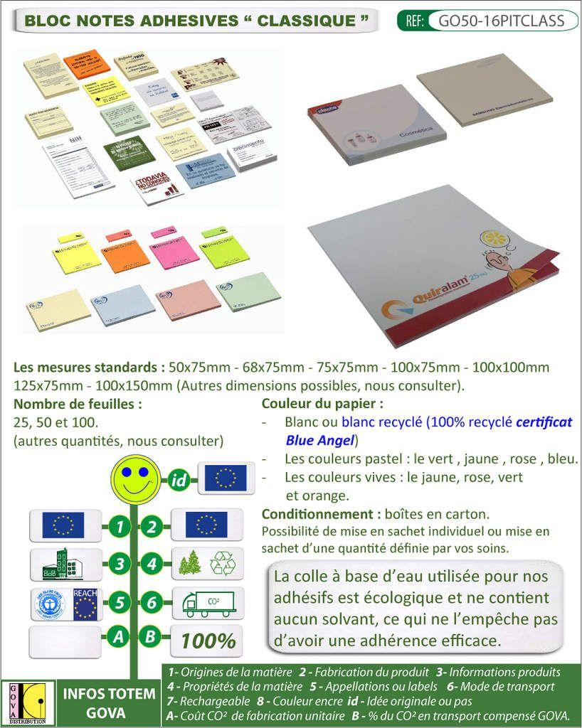 Notes autocollantes publicitaires classiques 7 tailles dispo couleurs de papier variees GO50-16PITCLASS