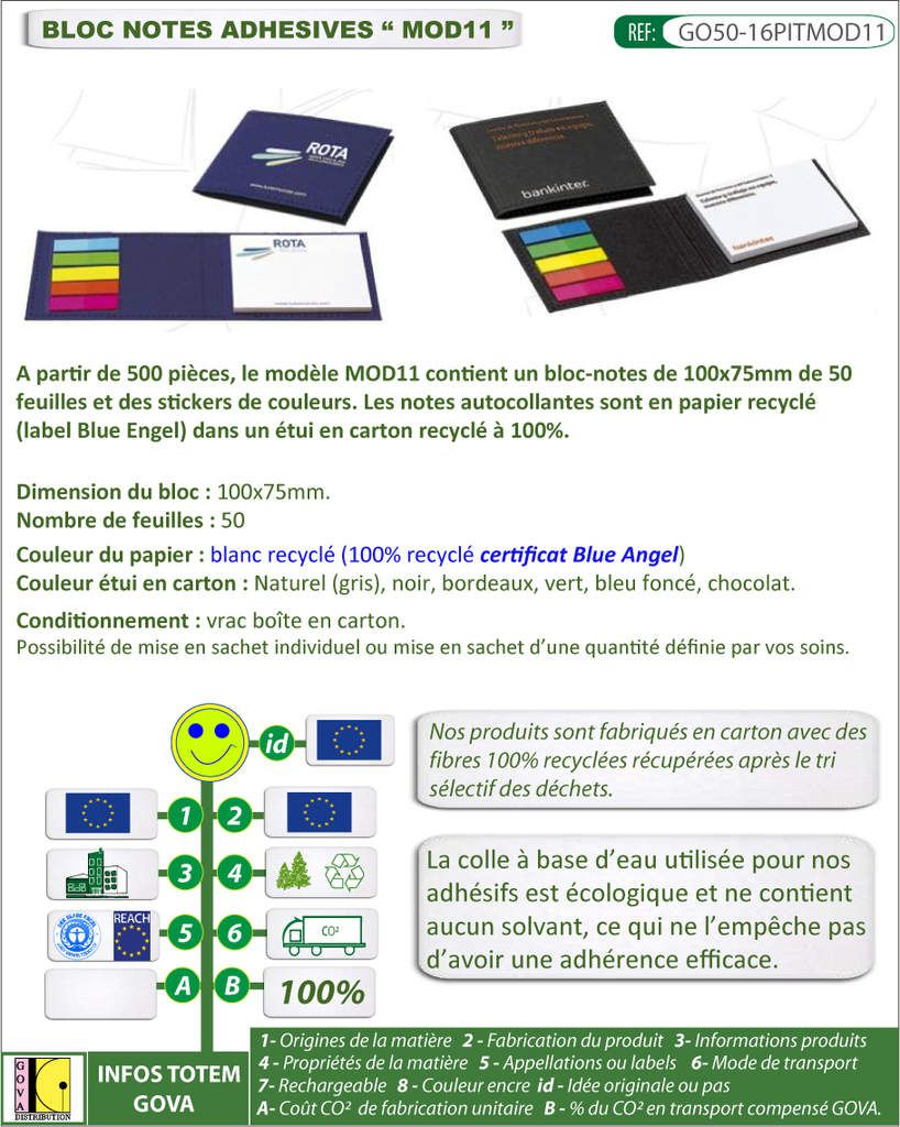 Notes autocollantes publicitaires papier recycle, etui en carton recycle GO50-16PITMOD11