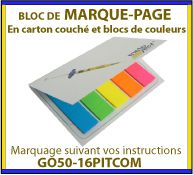 Bloc Notes marque page autocollant ou post-it dans un étui en polypropylene GO50-16PITMOD21