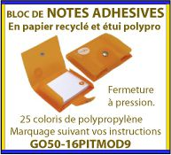 Notes adhesives ou post-it dans un étui en polypropylene avec fermeture a pression GO50-16PITMOD9