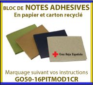 Notes adhesives ou post-it en papier recycle dans un étui en carton recycle avec finition couture GO50-16PITMOD1CR