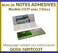 Set de 3 bloc-notes autocollantes avec couverture rigide en carton couche pouur la communication GO50-16PITCO3T