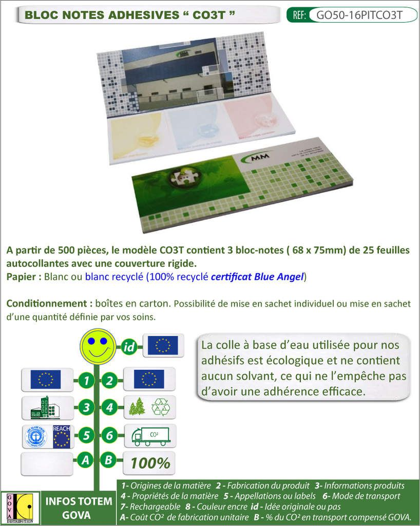 Set de 3 bloc-notes autocollantes pour la communication GO50-16PITCO3T