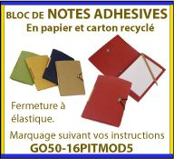 Notes adhesives ou post-it en papier recycle dans un étui en carton recycle avec fermeture a elastique GO50-16PITMOD5