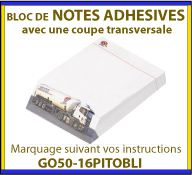 Notes adhesives ou post-it techniques et publicitaire avec coupe oblique GO50-16PITOBLI