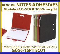 Notes adhesives en papier recycle Blue Angels avec etui carton recycle et stylo GO50-16PITECO1