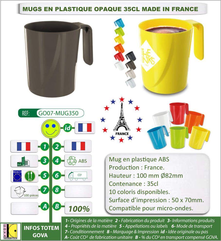Mug opaque en ABS 10 coloris 350ml avec marquage publicitaire fabrication france GO07-MUG350