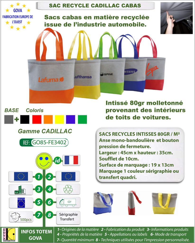 Sac recycle intisse 80gr Cadillac cabas avec marquage GO85-FE3402