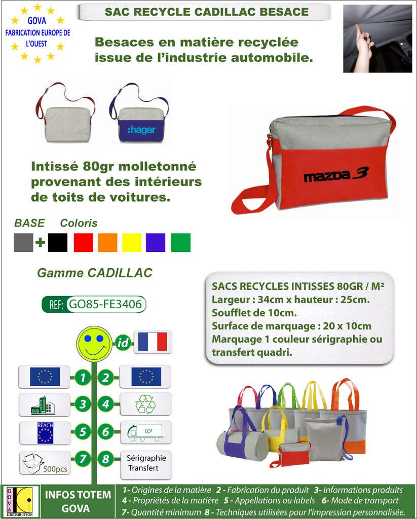 Sac recycle intisse 80gr Cadillac besace avec marquage GO85-FE3406