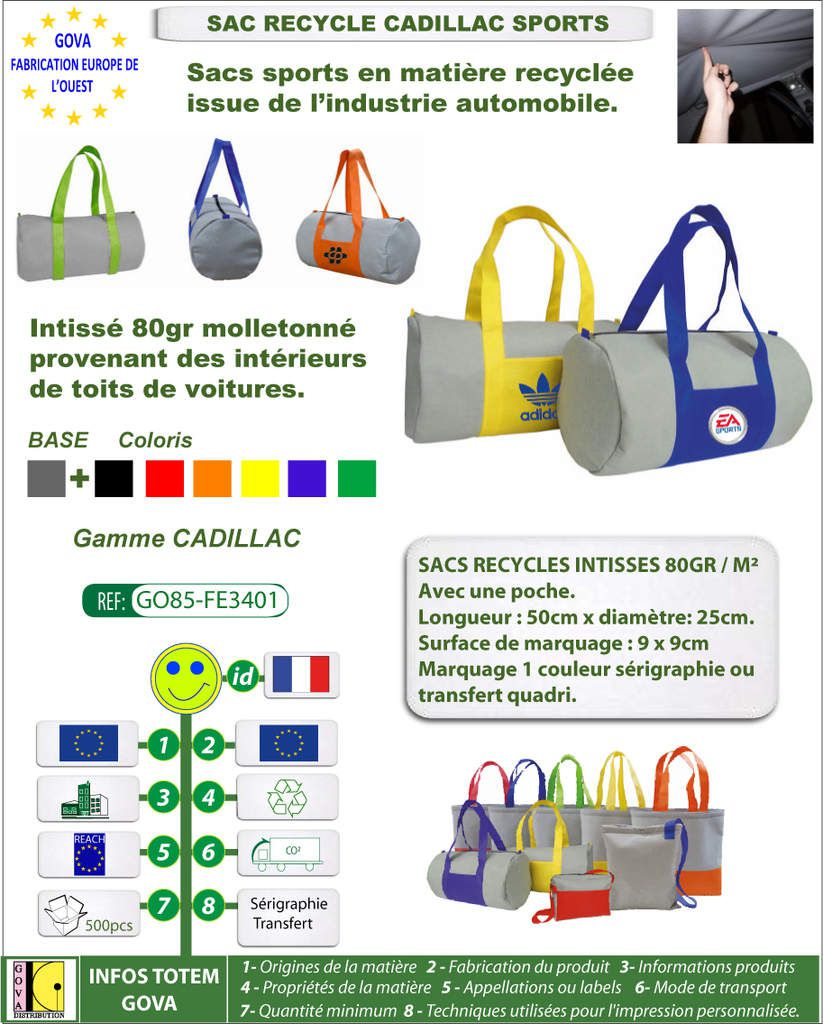 Sac recycle intisse 80gr Cadillac sports avec marquage GO85-FE3401
