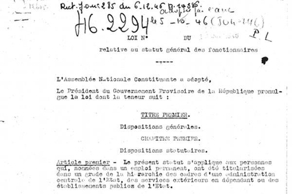 Retour sur la loi du 5 octobre 1946 qui dote la fonction publique de son premier statut
