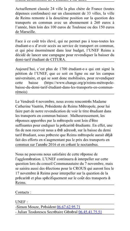 L'UFICT CGT Reims métropole soutient l'UNEF de Reims dans sa revendication sur le coût des transports