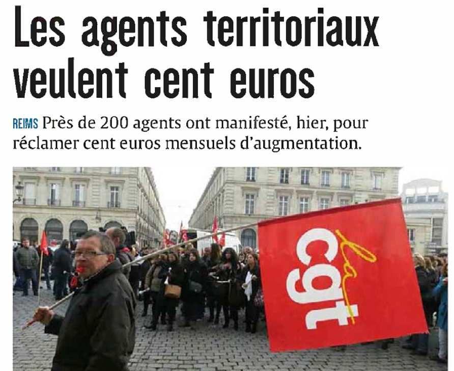 Les agents territoriaux rémois veulent 100 € (presse locale)