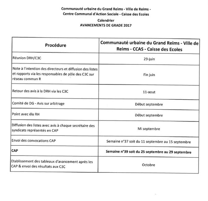 Note de service - Avancements de grades