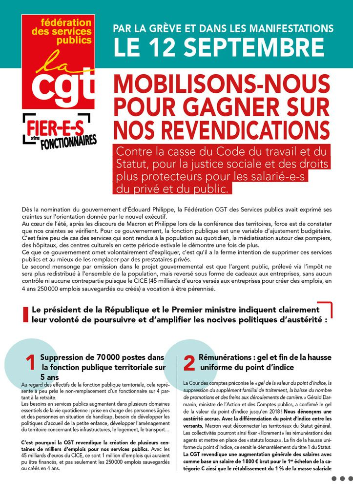 Par la grève et dans les manifestations, le 12 septembre, mobilisons-nous pour gagner sur nos revendications