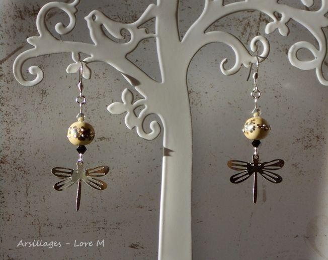 Boucles d'oreilles libellules, verre filé, cristaux, argent, acier inoxydable - Arsillages, Lore M