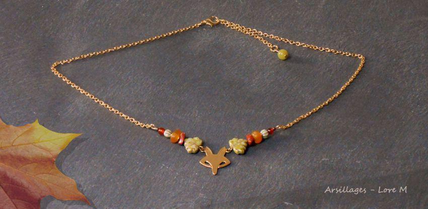 Collier Renard, pierres, et couleurs d'automne - Arsillages Bijoux, Lore M