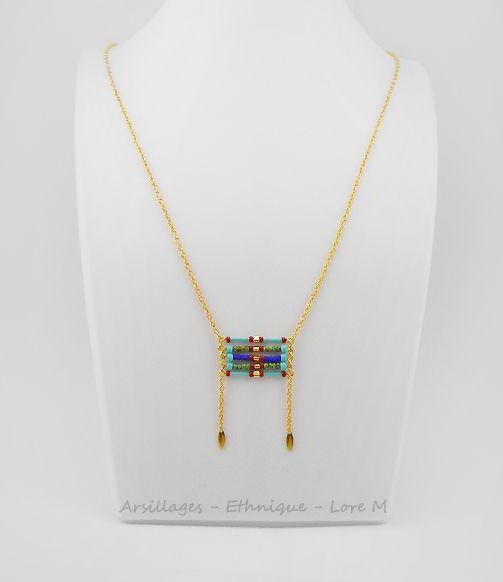 Collier - style amérindien, perles de verre - turquoise - Arsillages Bijoux, Lore M