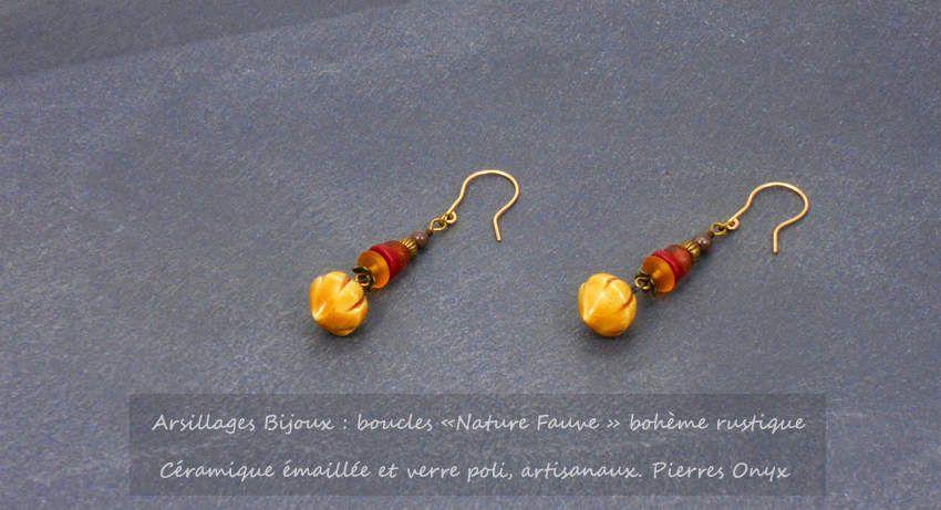 Boucles d'oreilles - Nature Fauve - Céramique émaillée artisanale - Arsillages Bijoux