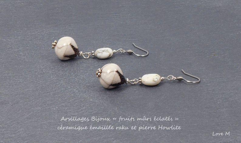 Boucles d'oreilles - Fruits mûrs éclatés - Création artisanale - Arsillages Bijoux