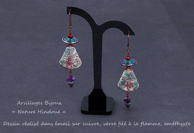 Boucles d'oreilles - Nature Hindoue - cuivre émaillé, verre filé flamme - Arsillages Bijoux-