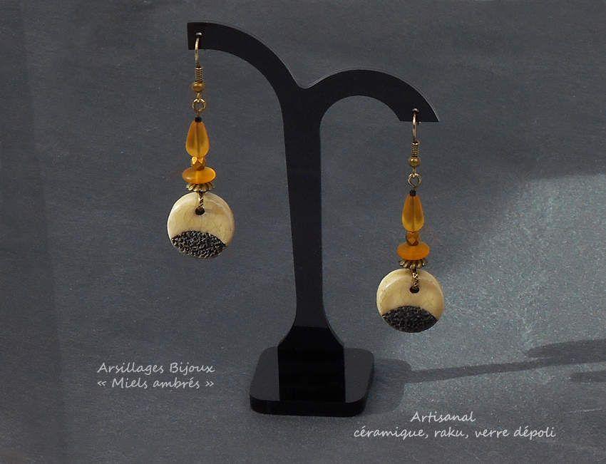 Boucles d'oreilles - Miels ambrés - céramique raku, verre dépoli - Arsillages Bijoux-
