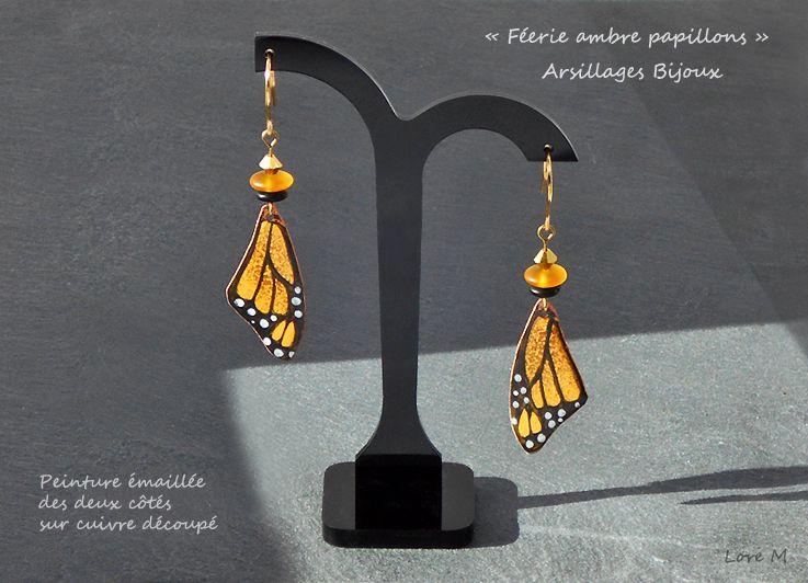 Boucles d'oreilles - cuivre émaillé - ailes papillons - Arsillages Bijoux-