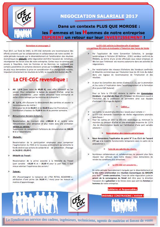 Négociation Salariale 2017 : LES REVENDICATIONS DE LA CFE-CGC !