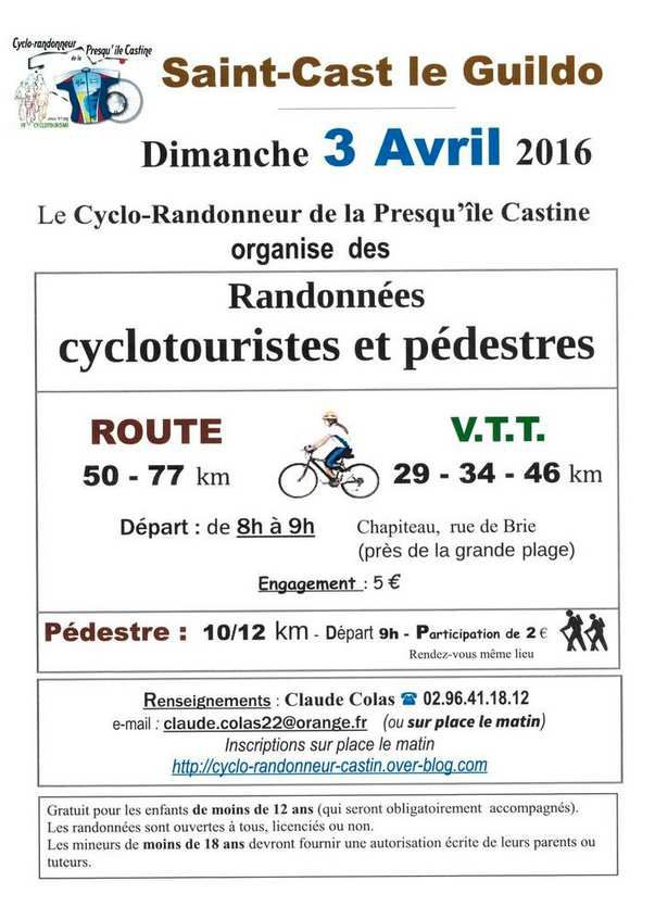 Rando Cyclo St-Cast : 3 avril