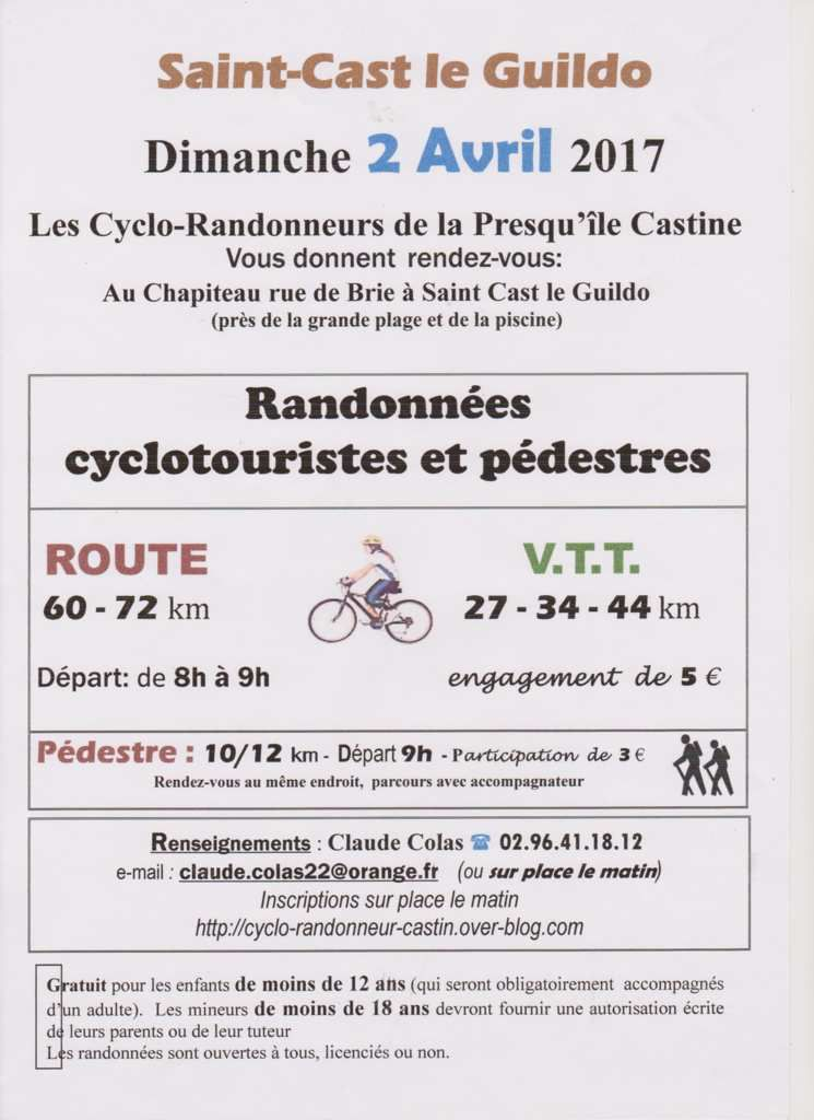 Rando Cyclo St-Cast Le Guildo : 2 avril 2017