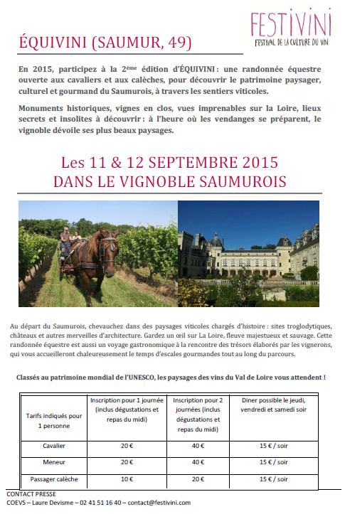 Equivini à Saumur (49) les 11 et 12 septembre 2015