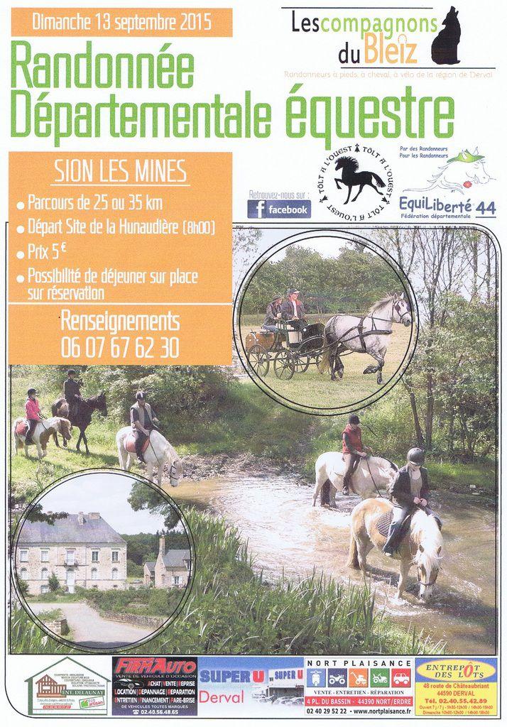 Rando départementale d'EquiLiberté 44 à Sion-les-Mines les 12 et 13 septembre 2015
