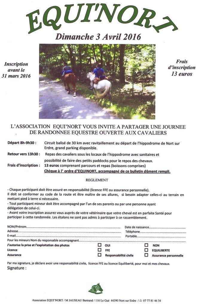 Rando Equi'Nort à Nort-sur-Erdre dimanche 3 avril 2016