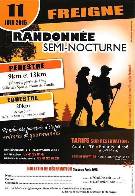 Rando semi-nocturne à Freigné (49) samedi 11 juin 2016