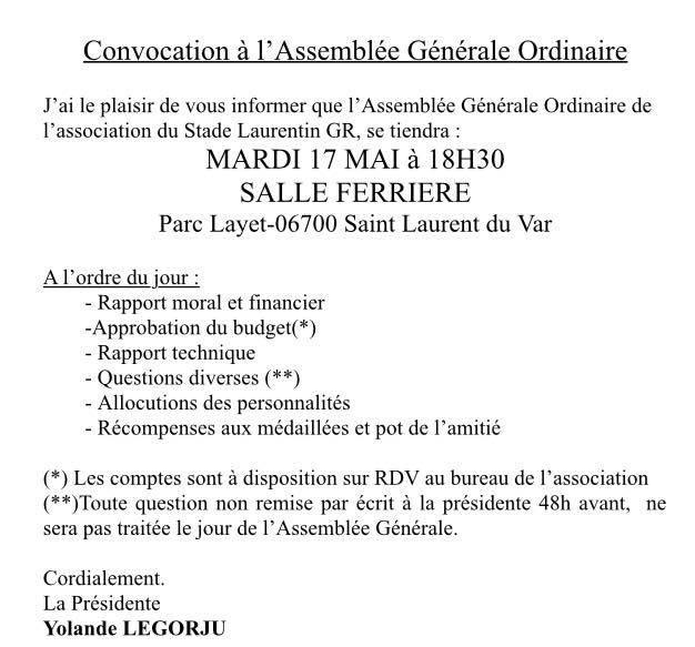 ASSEMBLÉE GÉNÉRALE ORDINAIRE DU STADE LAURENTIN GR