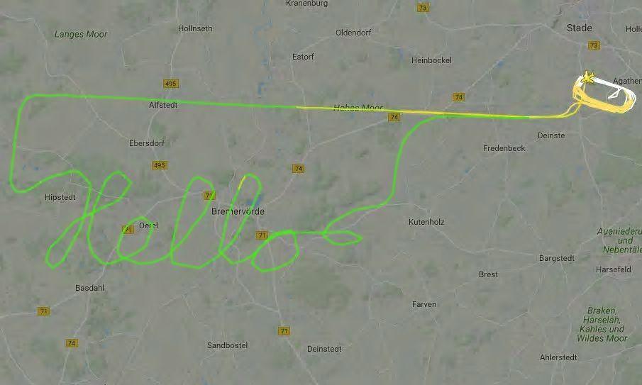 """Le """"Hello"""" réalisé par un allemand à bord d'un DR400, visible grâce à flightradar 24..."""