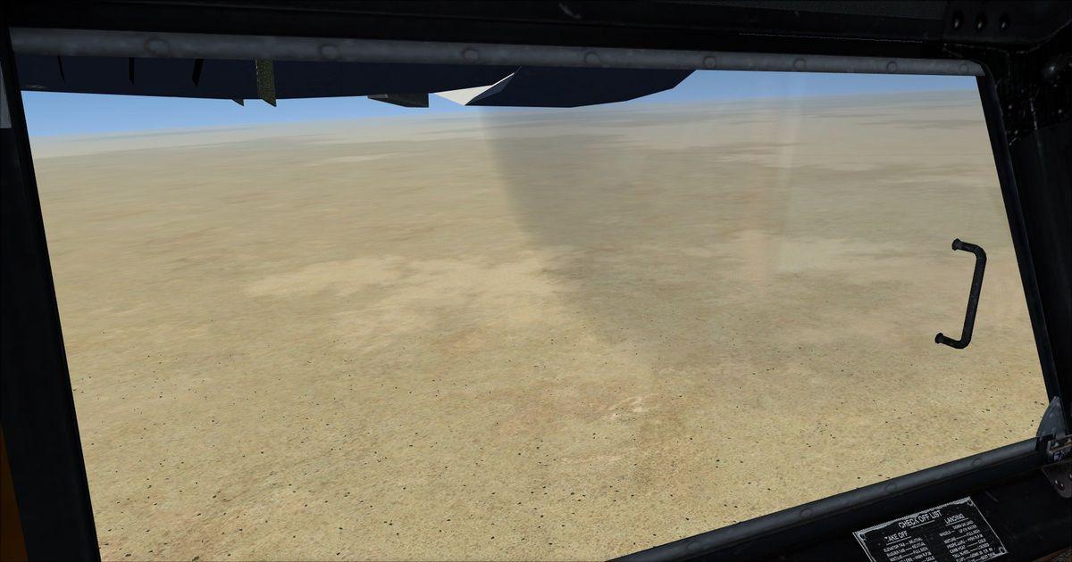 Que du sable à perte de vue en Irak, dans le secteur aucun amerrissage n'est possible, bref le Grumman Goose n'est pasau-dessus deson élément préféré : l'eau...
