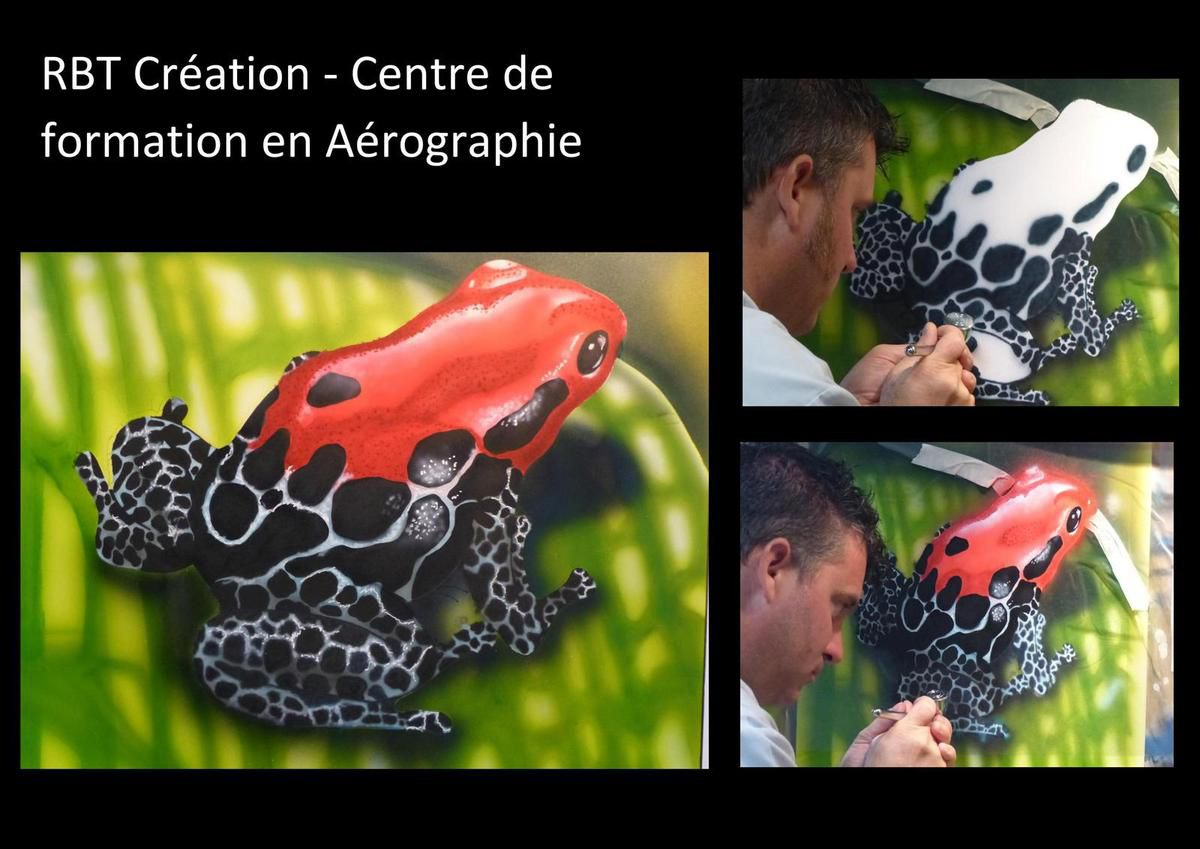 Exercices d'apprentissage en formation aérographie