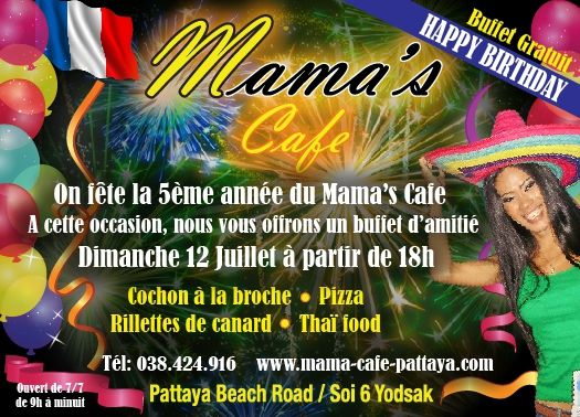 2015 Happy Birthday Mama's Cafe soi 6 Pattaya ....4 years already