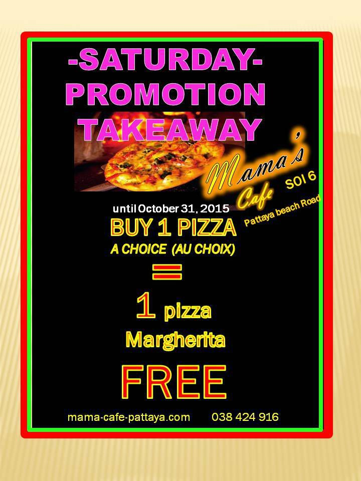 EVERY SATURDAY PIZZA FREE (TAKEAWAY PROMOTION°