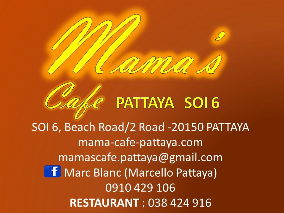 Businness Card  Mamas Cafe Pattaya Soi 6