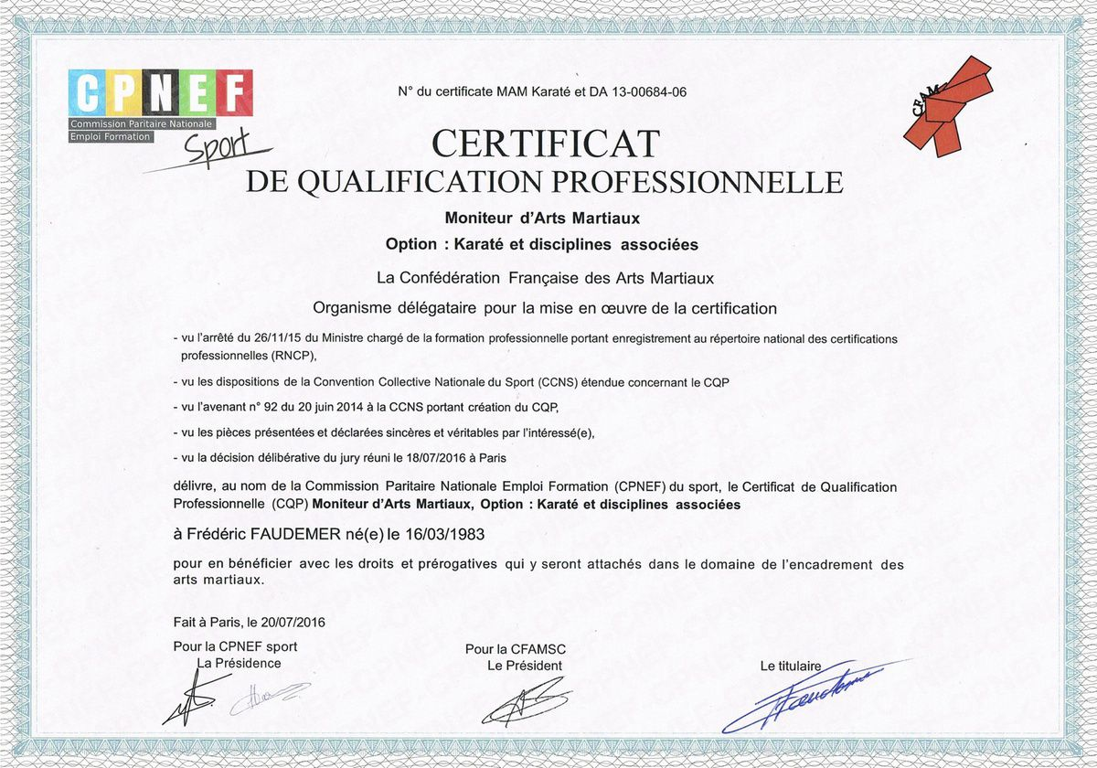 "Certificat de Qualification Professionnelle ""Moniteur d'Arts  Martiaux"""