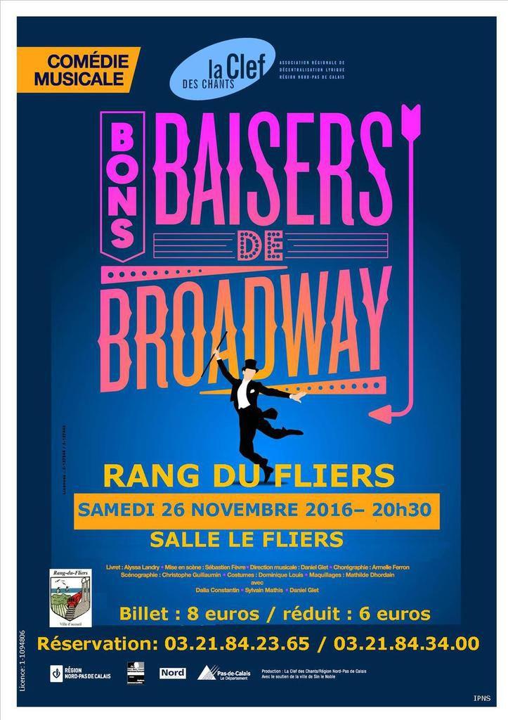 COMÉDIE MUSICALE AMÉRICAINE : Bons baisers de Broadway, le samedi 26 novembre à la salle Le Fliers