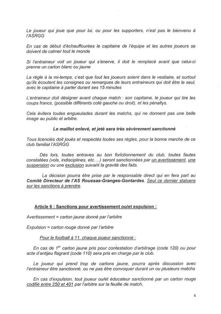 Règlement interieur et charte des licenciés