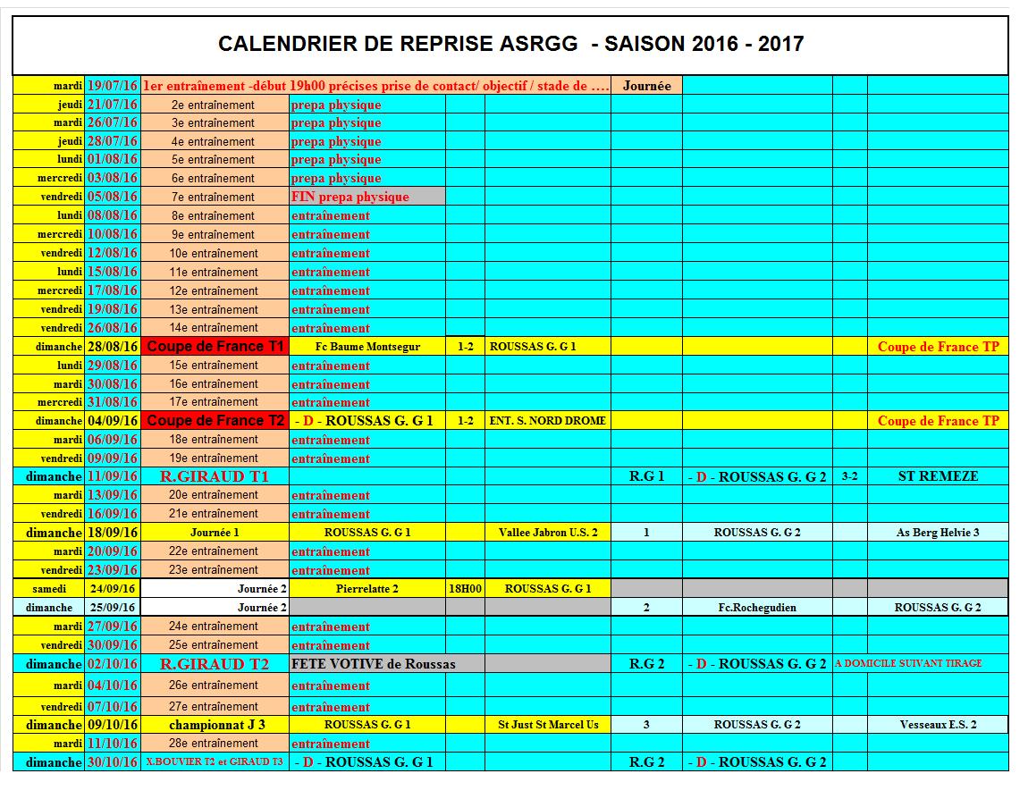 calendrier reprise ASRGG saison 2016-2017