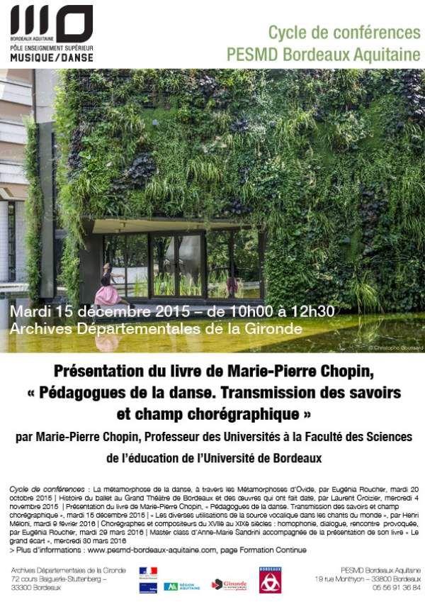 Conférence danse et pédagogie - 15 décembre 2015