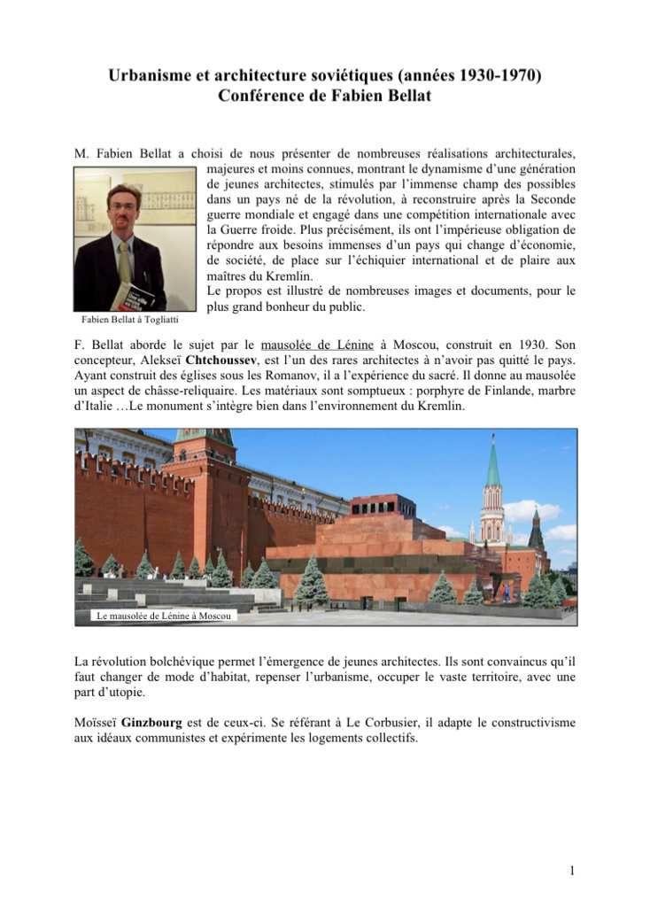 CR : Urbanisme et architecture soviétiques (années 1930-1970) Conférence de Fabien Bellat
